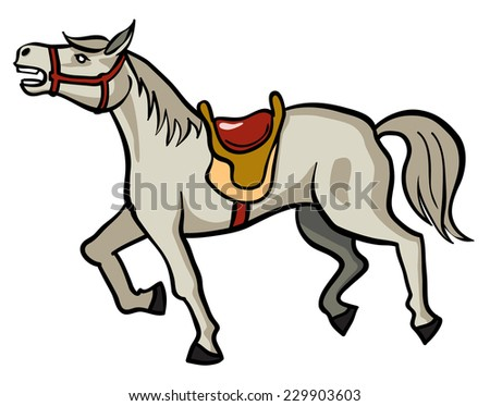 Gray horse with saddle - vector image - stock vector