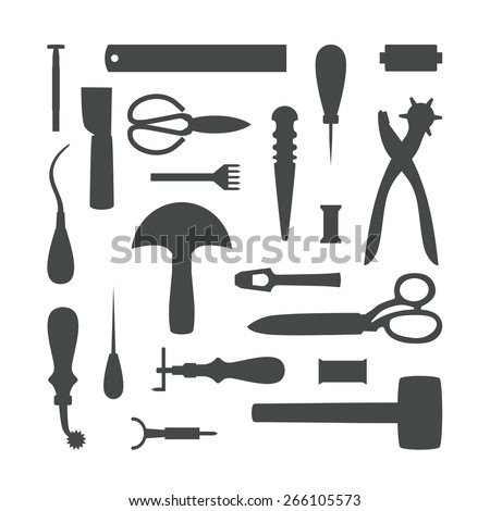 Gray leather working tools silhouettes isolated on white background - stock vector