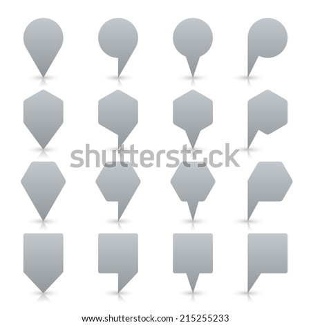 Gray map pin sign location icon with gray shadow and reflection on white background  in simple flat style. This web design element save in vector illustration 8 eps - stock vector