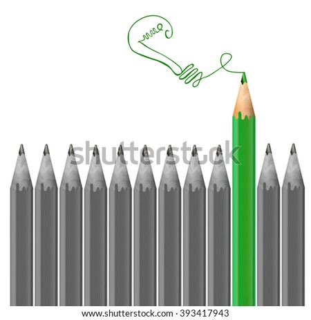 Gray pencils and one green pencil. Idea and  individuality concept. VECTOR illustration  - stock vector