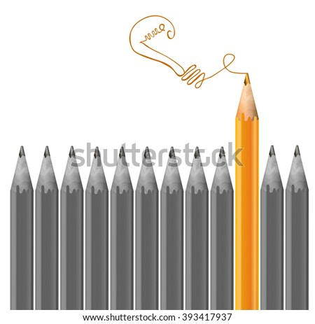 Gray pencils and one orange pencil. Idea and  individuality concept. VECTOR illustration  - stock vector