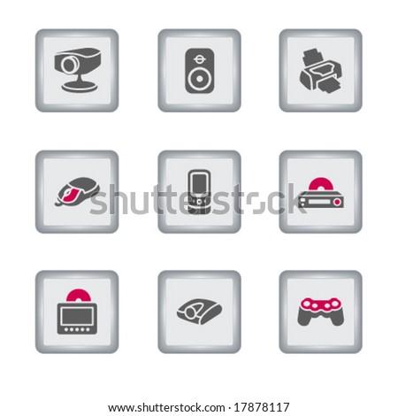 Gray rectangle web icon, set 21 - stock vector