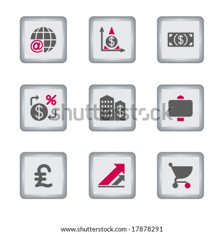 Gray rectangle web icon, set 23 - stock vector