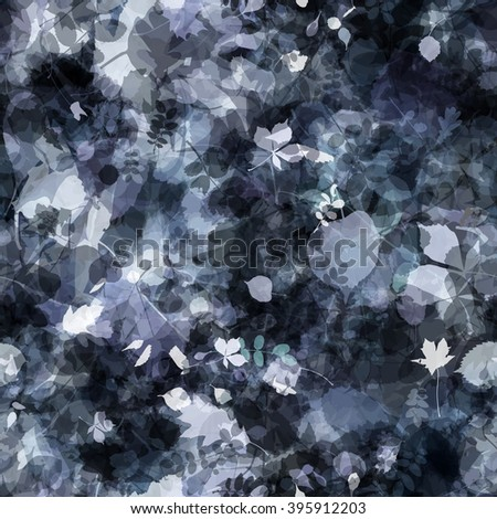 Gray seamless pattern. Rocks and leaves. The leaves of trees and shrubs are mixed randomly. Vector. Easy editable. The effect of blur and watercolors. - stock vector