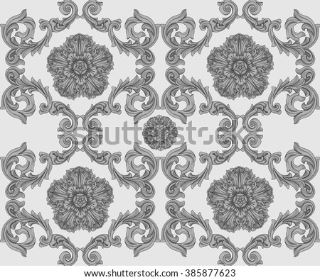 Gray seamless pattern with flower and Ornaments in Baroque Style. Baroque Wallpaper. Baroque Design. Baroque Background.  - stock vector