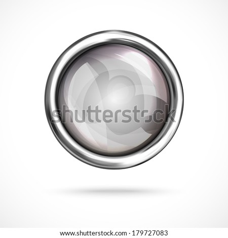 Gray shiny button with metallic elements, vector design for website. - stock vector