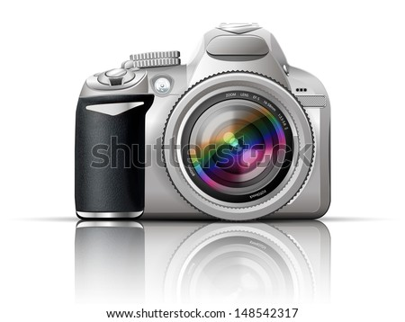 gray slr camera on a white background with the reflection of the - stock vector