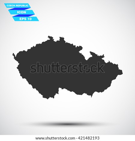 gray vector illustration icon map state czech republic on gradient background - stock vector
