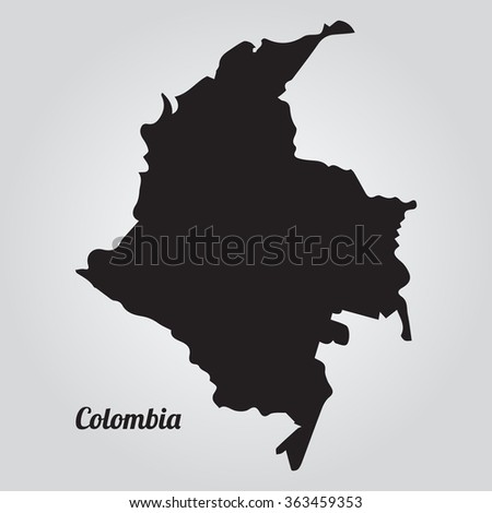 Gray vector map Colombia. Isolated vector Illustration. Black on Gradient background. EPS Illustration with an inscription Colombia. - stock vector