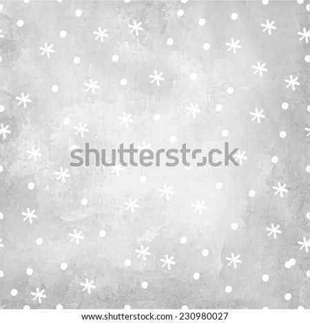 gray watercolor background with a pattern from snowflakes and snow. EPS 10 - stock vector