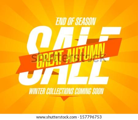 Great autumn sale design in retro style. - stock vector