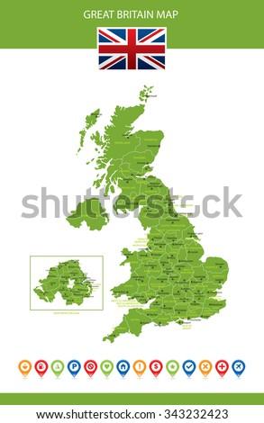Great Britain Map - stock vector