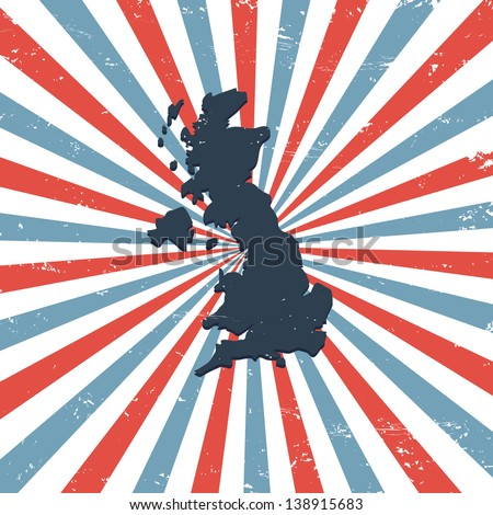 Great Britain on the map - stock vector