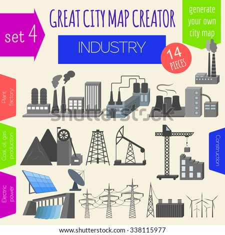 Great city map creator. House constructor. House, cafe, restaurant, shop, infrastructure, industrial, transport, village and countryside. Make your perfect city. Vector illustration - stock vector