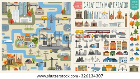 Great city map creator.Seamless pattern map and  Houses, infrastructure, industrial, transport, village and countryside set. Make your perfect city. Vector illustration - stock vector