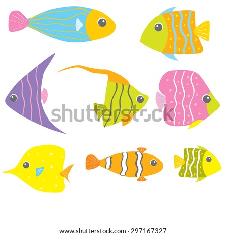 Great collection of a tropical fish - stock vector