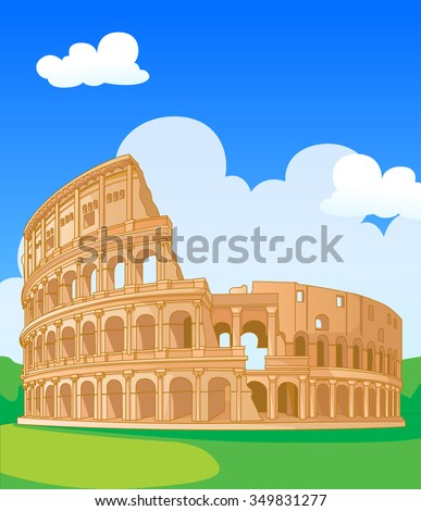 Great Colosseum, Rome, Italy. Vector illustration. - stock vector