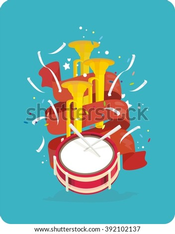 Great holiday, parade of musical instruments. Festival, trumpet, drum, red ribbons, confetti - stock vector