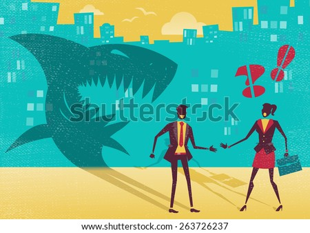 Great illustration of a businessman who is exposed as a shark in real life by a clever businesswoman who sees right through his clever disguise. He is not what he seems to be. - stock vector