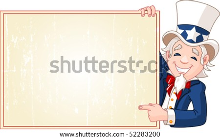 Great illustration of a cartoon Uncle Sam holding sign. Perfect for a Fourth of July illustration. - stock vector
