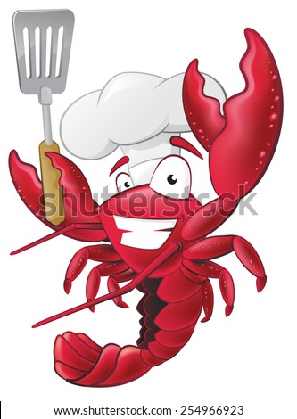 Great illustration of a happy lobster Chef holding a Spatula ready to cook some delicious seafood. - stock vector