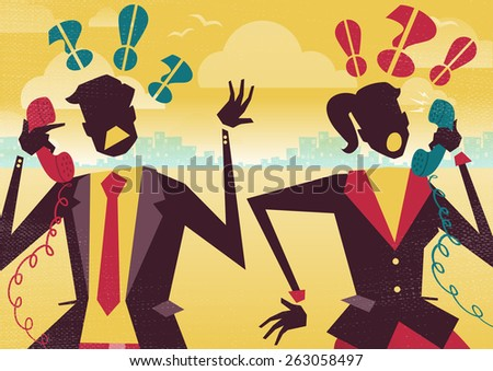 Great illustration of Retro styled Business rivals arguing over their their financial business problems on telephones. It seems they may have their wires crossed. - stock vector