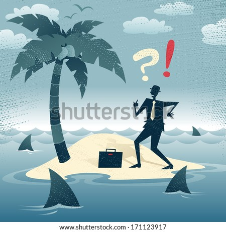 Great illustration of Retro styled Businessman who has found himself stranded on a remote desert island with no chance of escape as he is circled by a group of hungry man eating sharks!. - stock vector