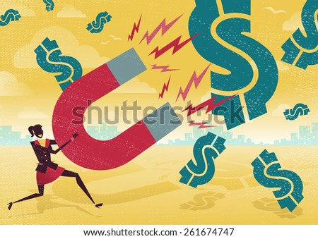 Great illustration of Retro styled Businesswoman catching all the money with his giant cash catching Magnet. - stock vector