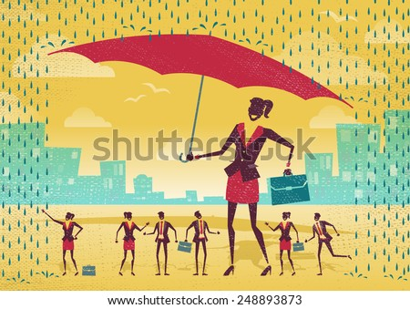 Great illustration of Retro Styled Businesswoman who is helping her team to stay dry under her huge umbrella.   - stock vector