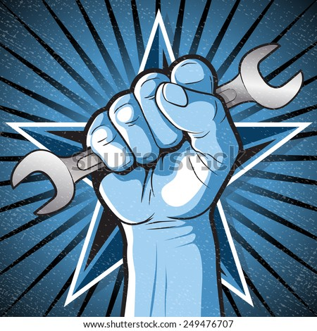 Great illustration of Russian Propaganda style punching Fist holding a Spanner symbolising Workers Rights.  - stock vector