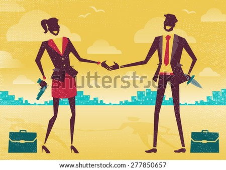 Great illustration of two Business People enjoying a friendly handshake to seal the deal only the guns and knives behind their backs conceal their true agendas. Betrayal seems the the true motive. - stock vector