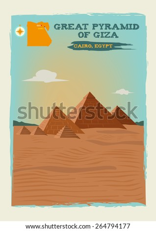 Great Pyramid of Giza or Pyramid of Khufu or Cheops in Cairo Egypt. Editable EPS10 Vector and jpg illustration  - stock vector