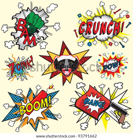 Great selection of Comic Book icons with Badger, Bang Gun, dynamite Boom, Hulk hand and others - stock vector