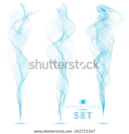 great set beautiful blend blue waves abstract background vertical for design template - stock vector