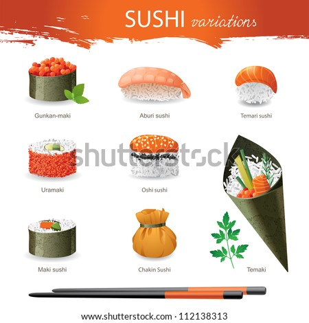 Great set of sushi variations - stock vector