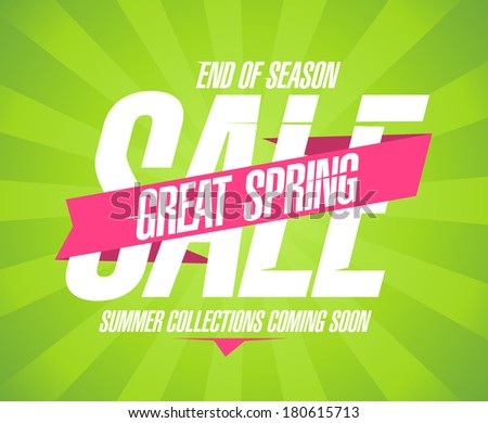 Great spring sale design in retro style. - stock vector