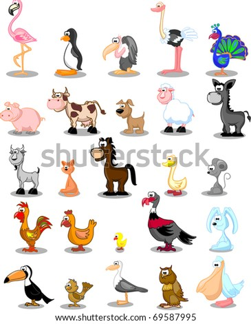 great vector set pets on the farm and birds - stock vector
