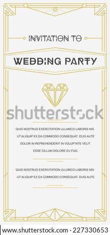 Great Vintage Invitation Gatsby Sign in Gatsby Art Deco or Nouveau Epoch 1920's Gangster Era Vector to Wedding Party - stock vector