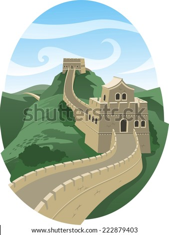Great wall of china landscape illustration - stock vector