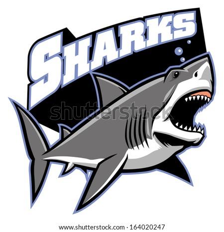 great white shark mascot - stock vector