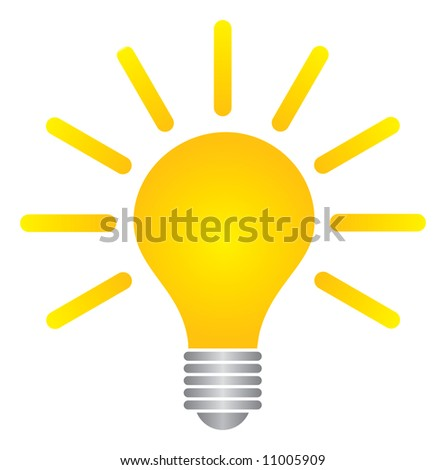 Great yellow logo bulb idea for changing the world icon  - stock vector