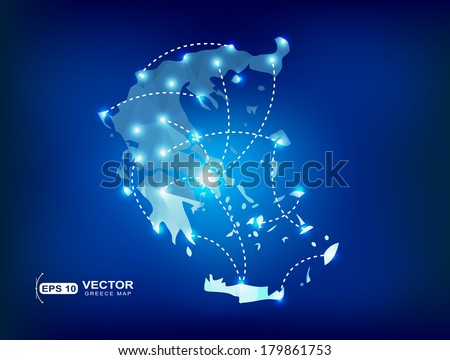 Greece country map polygonal with spot lights places - stock vector