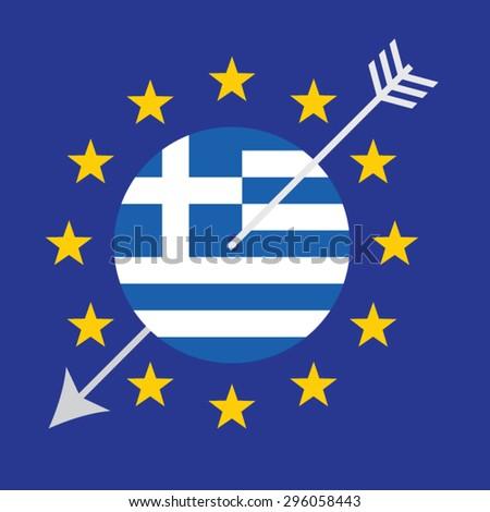Greece Crisis Vector Concept Design.  Threat to the Euro Zone. - stock vector