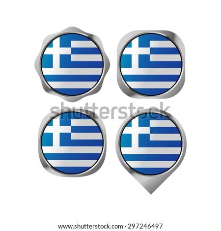 Greece flag button vector drawing - stock vector