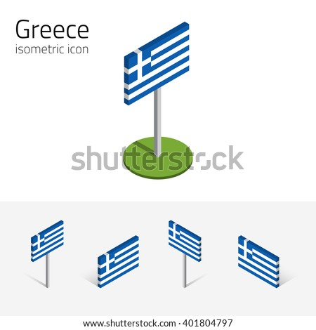 Greece flag (Hellenic Republic), vector set of isometric flat icons, 3D style, different views. 100% editable design elements for banner, website, presentation, infographic, poster, map. Eps 10 - stock vector