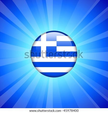 Greece Flag Icon on Internet Button Original Vector Illustration - stock vector