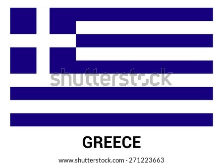 Greece flag isolated vector in official colors and Proportion Correctly. country's name label in bottom - stock vector