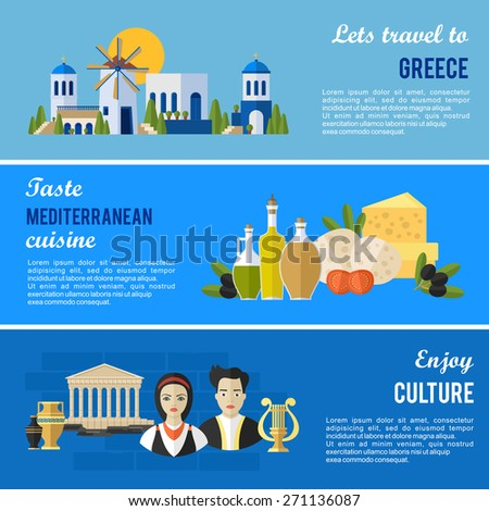 Greece Landmarks and cultural features flat banners design set. - stock vector