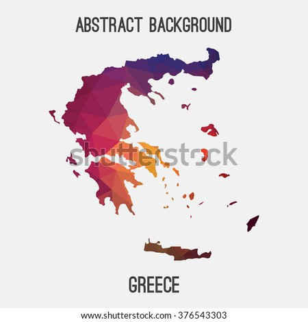 Greece map in geometric polygonal style.Abstract tessellation,modern design background. Vector illustration EPS8 - stock vector