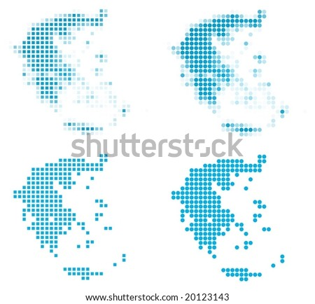 Greece map mosaic set. Isolated on white background. - stock vector